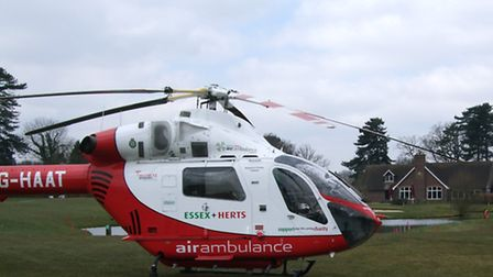 The Herts Air Ambulance crew made an emergency landing at a Harpenden golf course