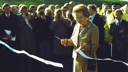 PM Margaret Thatcher declares the final section of the M25 open, on October 29, 1986