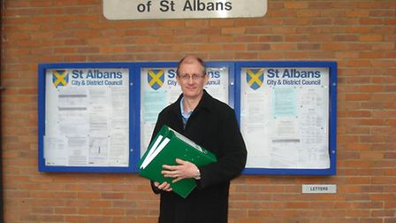 Harpenden New Farm Protection Group chairman Nick Mourant with the petition