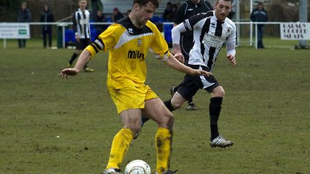 ON THE BALL: St Ives Town captain Lee Ellison controls the ball at Peterborough Northern Star. Pictu