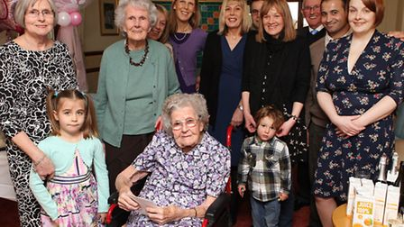 Phyllis Orde celebrating her 100th birthday with her family