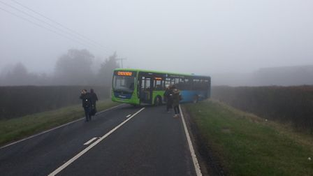 Gary Collings, who took this picture, was on board a Whippet bus that crashed on Somersham Road,