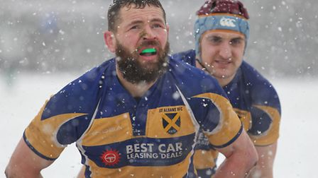 St Albans players catch a breath in the cold.