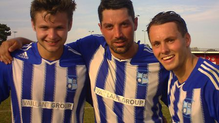 GOODY STARS: Joe Furness, Paul Bass and Mike Hyem all featured for Godamnchester Rovers over the bus
