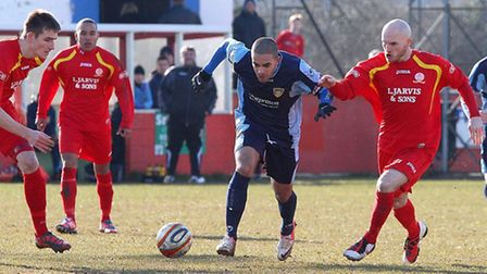 BURSTING THROUGH: St Neots' portuguese winger Andre Da Costa on at the ball at Banbury United. Pictu