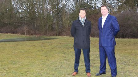 Lawrence Levy and John McGowan at the proposed site for St Albans City development