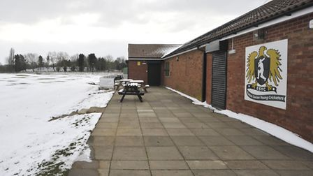 WHITE OUT: The cricket pitch at Eaton Socon as viewed from the pavilion on Monday afternoon.