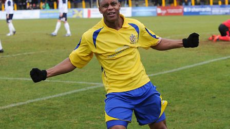 Greg Ngoyi celebrates scoring City's opener against AFC Totton. Picture by James Latter