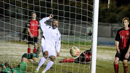 James Comley celebrates a goal against Kettering Town. Picture by Leigh Page.