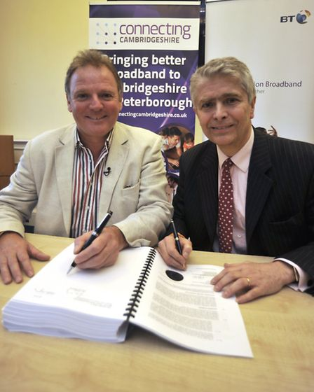 At Shire Hall, Cambridge is the signing of the Cambridgeshire Broadband Contract, (l-r) Cllr Nick Cl