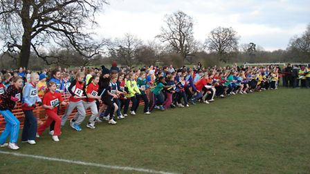AND THEY'RE OFF: The start of the girls' race at the Cambs Cross Country Relay.