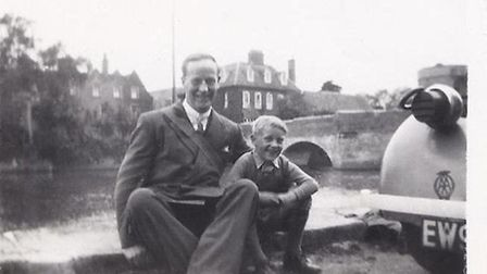 Mr Malcolm Stokes who was evacuated to St Ives…nice pic. This is him aged 7 with his dad (1940).