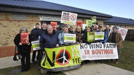 Stop Common Barn Wind Farm protest outside the planning appeal hearing at Jubilee Park, Huntingdon