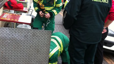 An injured man was carefully removed from a cellar at Brasserie Blanc in St Albans