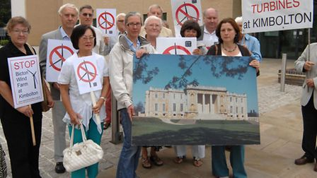 Protestors at the Bicton Wind Farm Appeal.