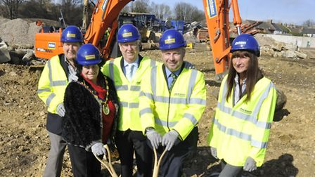 The ceremony to mark the start of construction of the Huntingdon West Relief Road, (l-r) Cllr Peter