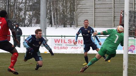 THE TRUNAROUND: Adrian Sear heads the ball home to make it 3-1. Picture: Andy Wilson.