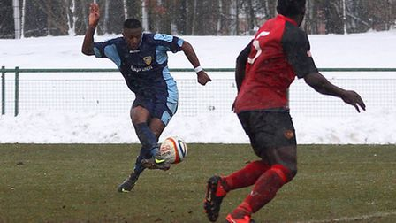 THE EQUALISER: Kyle Asante makes it 3-3 in the 89th minute. Picture: Andy Wilson.