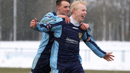 YES!: Lewis Hilliard after scoring the winner against Kettering. Picture: Andy Wilson.