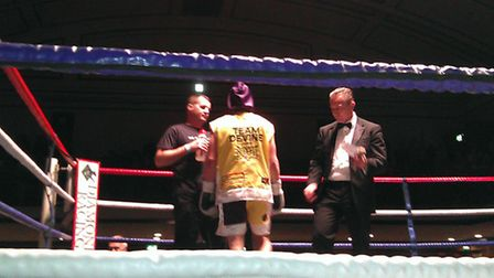 Michael Devine enters the ring ahead of his fight with Dan Naylor.