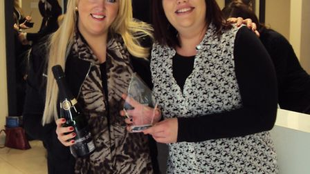 Joanne (right) with Hayley Purkis, joint franchisee/salon owner at Saks Royston.