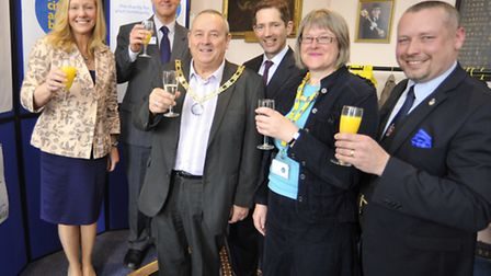 The opening of Rural Cambs CAB at Huntingdon Town Hall, (l-r) Beverley Howard of CAB , Chairman Pete