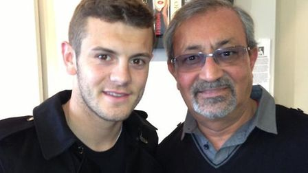 Arsenal player Jack Wilshere with Tulsi Parmar in Harpenden