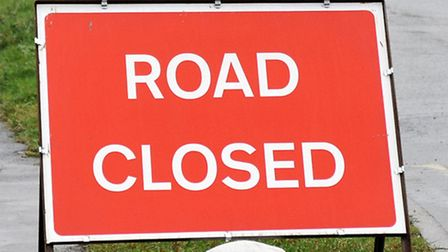 Road closed sign on New Bridge Lane Wisbech