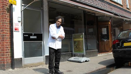 Rendezvous Cafe owner Mohammed Benabla stands in front of the cafe on Waddington Road where sewage w