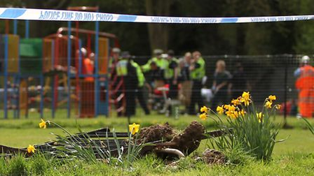 The point of entrance where a car crashed through a recreation ground as emergency services attend t