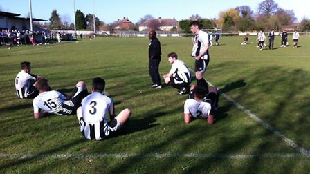 FRUSTRATION: The disapponited players of St Ives Town after they lost 3-1 at home to Newport Pagnell
