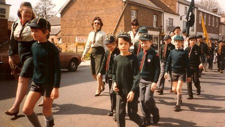 Matt Hyde, fourth Cub from left, marching along Great Whyte, Ramsey in 1983
