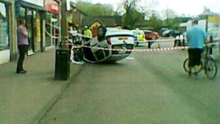 Car rolled at The Quadrant, St Albans