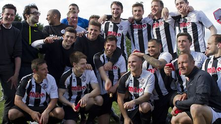 WHAT A TEAM: The team that won promotion from the UCL to Step 4. Picture: Louise Thompson.