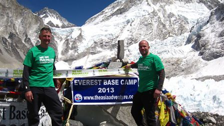 Paul Dyer and Phillip Malley at Everest Base Camp