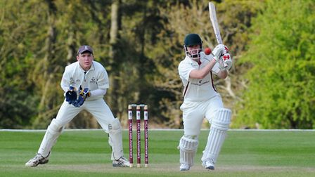 Action from Harpenden's first round exit in the HCPCL Twenty20 against Sawbridgeworth. Picture by Ja