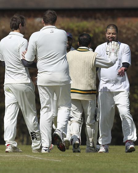 Old Albanian celebrate a wicket