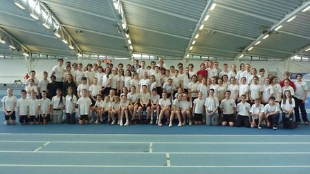 Greneway and Meridian athletes at Lee Valley Athletics Centre