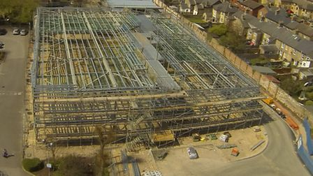 Aerial view of new cinema building in St Neots
