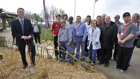 Grafham Water Visitor Centre Opens, Co Workers from Leap Centre with Anglian Water Managing Directo
