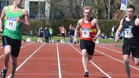 GREAT OUTDOORS: Ryan Palmer, the Hunts AC sprinter, wins his first outdoors 100 metres race of the y