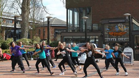 Living the Dream dance group perform a flashmob in front of the Alban Arena
