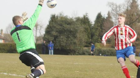Brookmans Park keeper Gary Statham makes a fine save against Harpenden Arms