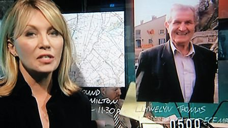 BBC Crimewatch reconstruction of Llywelyn Thomas from Chittering who was murdered.Presenter Kirsty