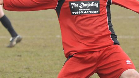DOUBLE TROUBLE: Ben Seymour-Shove in action for Huntingdon Town at Jubilee Park earlier in the seaso