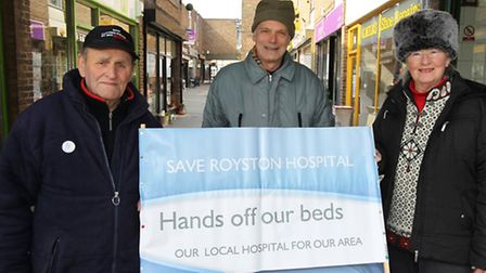 Royston Hospital Action Group members Terry Hutt, Chris Cowsley and Jean Cass have been continuing t