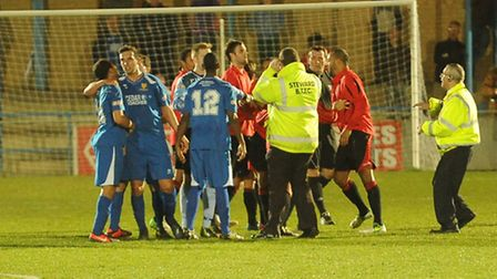 A scuffle broke out during Bedford's 2-0 win against St Albans City. Picture by Bob Walkley