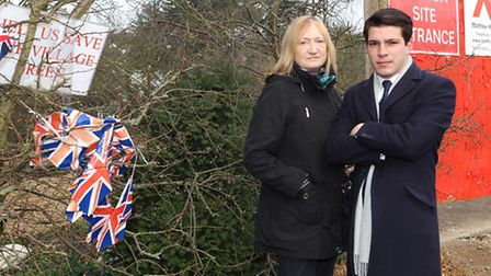 Councillors Dreda Gordon and Jacob Quagliozzi in front of the Thamesdale village green which is to b