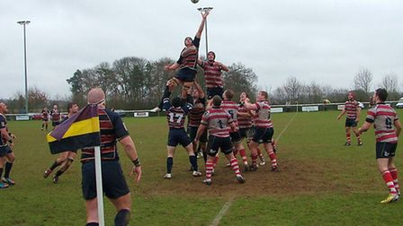 Action from Old Albanian's 17-16 win over Rosslyn Park. Picture by David Buxton