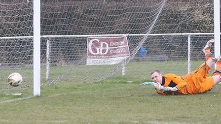Mark Whittamore pushed away a free-kick. Picture by James Whittamore